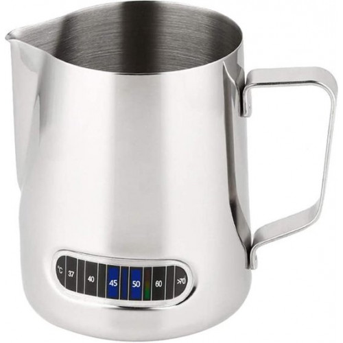 Latte Art Pitcher - Milk Frother - Milk Jug - 600ml - Stainless Steel Milk Jug - With Thermometer